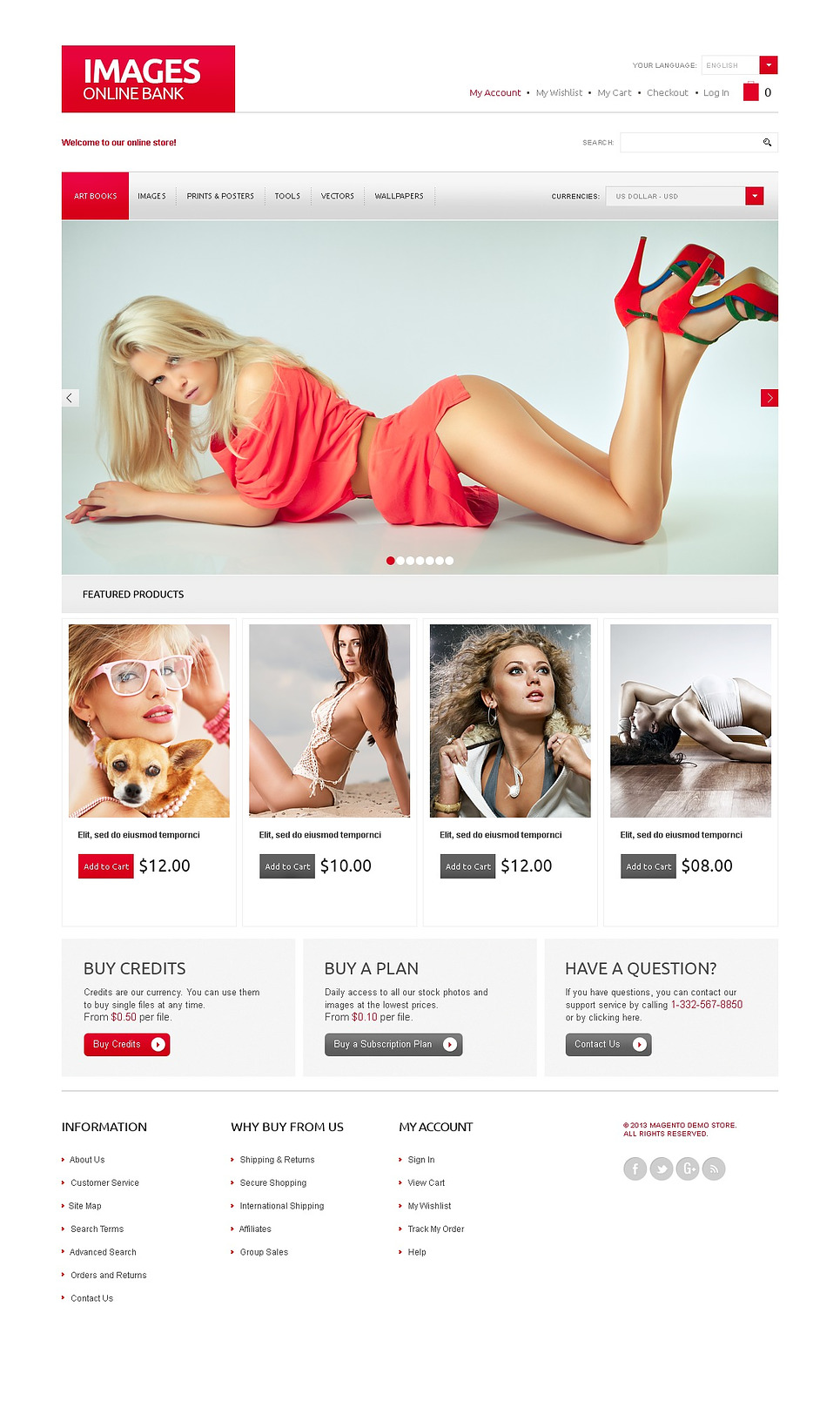 Excellent Online Image Bank Magento Theme