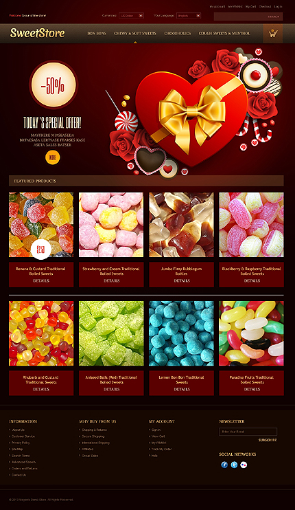 Sweet store - Appetizing Sweet Store Magento Theme