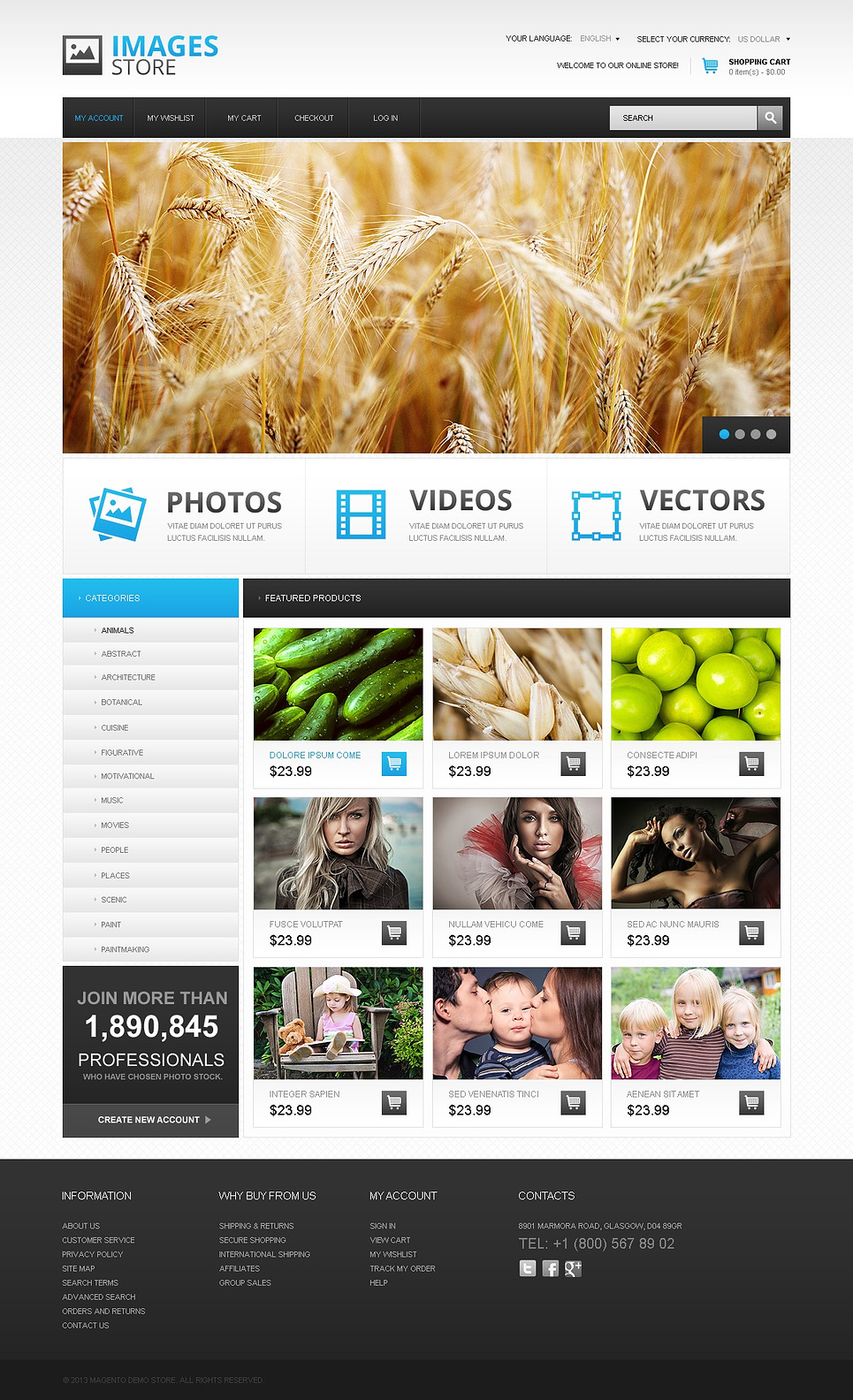 Essential Images stores Magento Theme