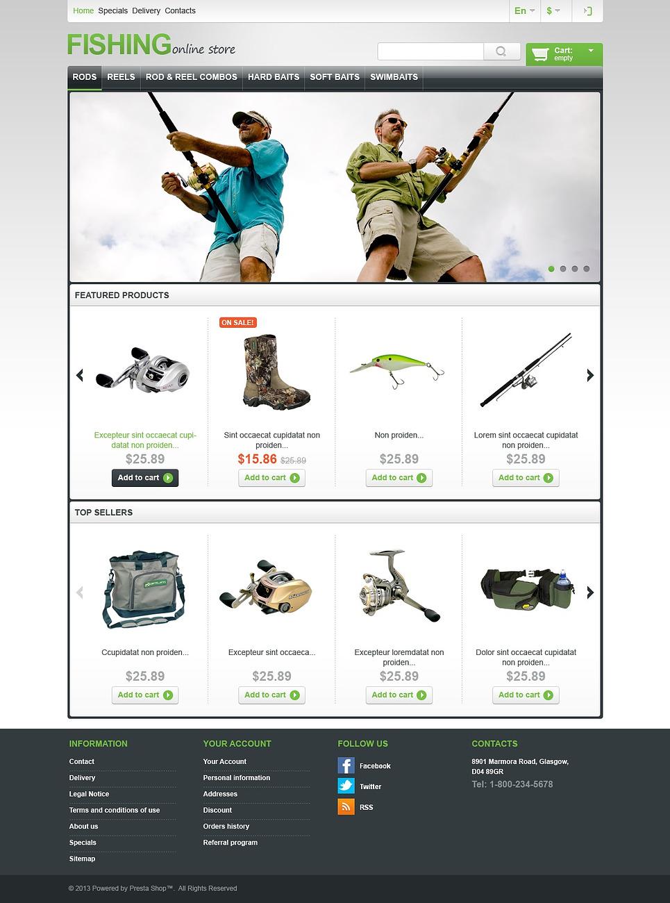Fishing Store - MindBlowing Responsive PrestaShop Theme