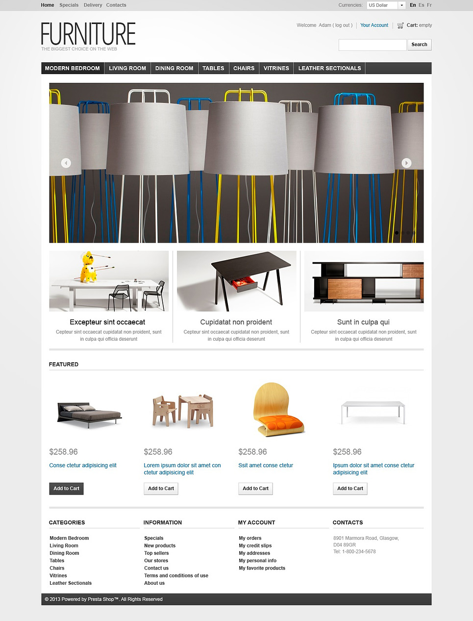 Comfort Creating Furniture PrestaShop Theme