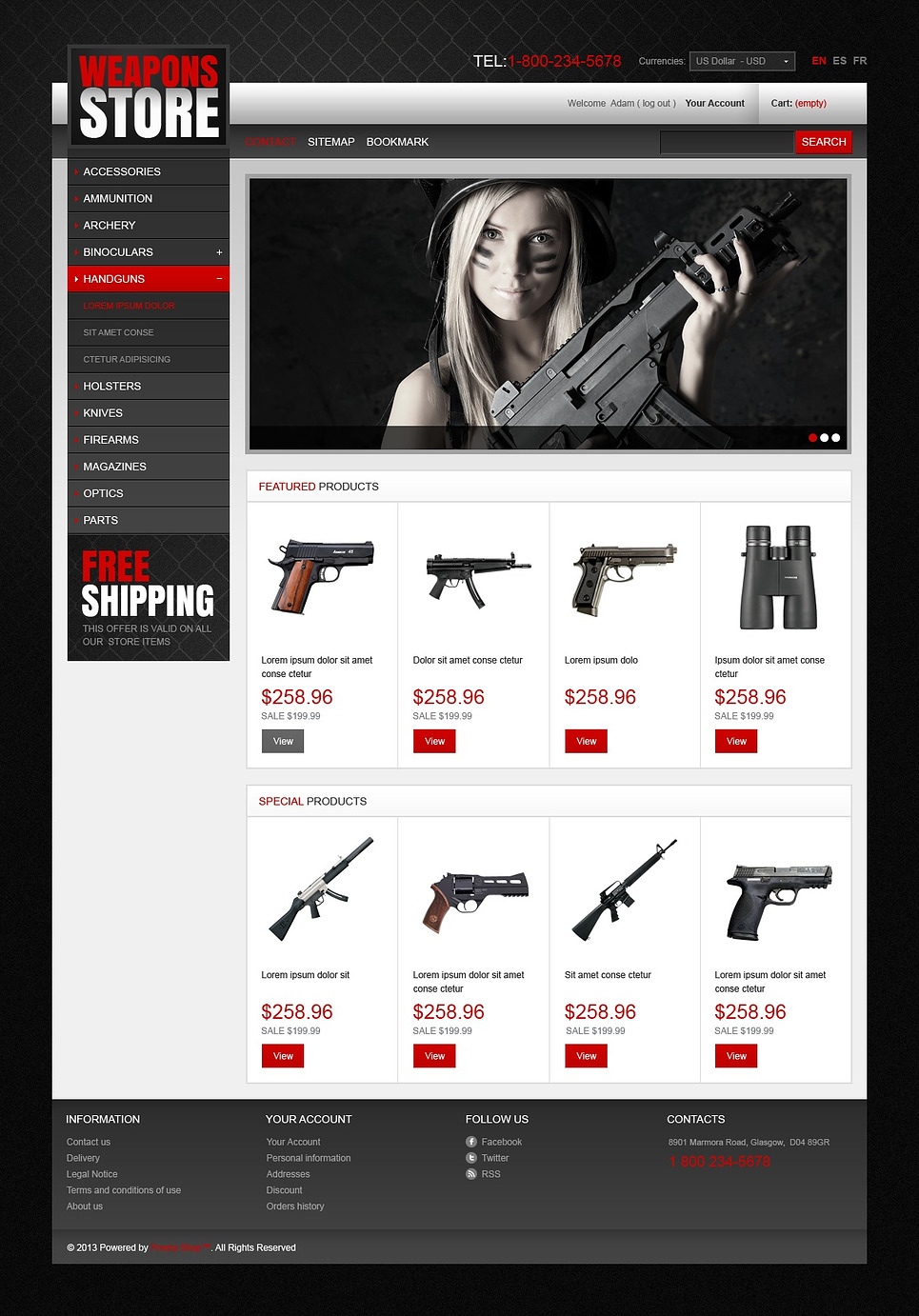 Ultimate Weapons Stores Prestashop Theme