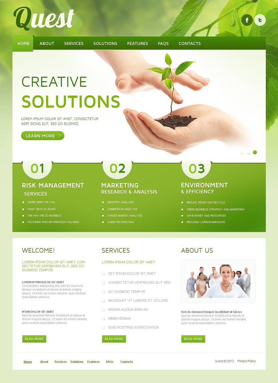Creative Business Website Template with Green Background - image