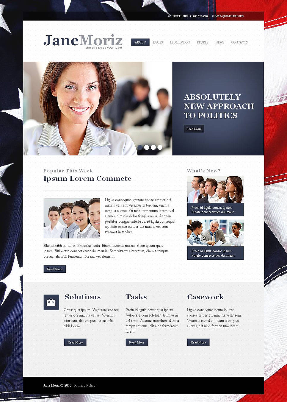 Politics Website Template with American Flag on the Background - image