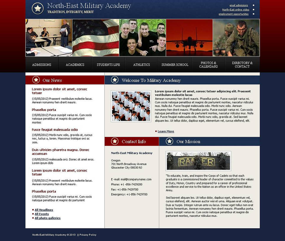 Military Academy Web Template in Blue and Red Colors - image
