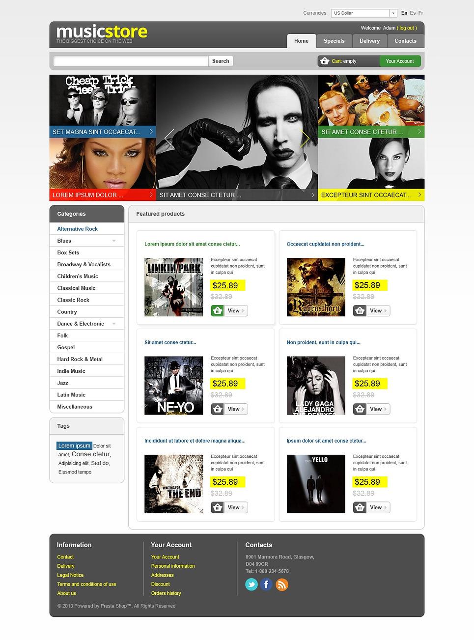 Amazing Music Store PrestaShop Theme
