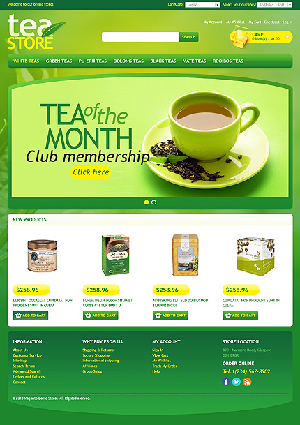 Tea store - Rousing Tea Shop Magento Theme