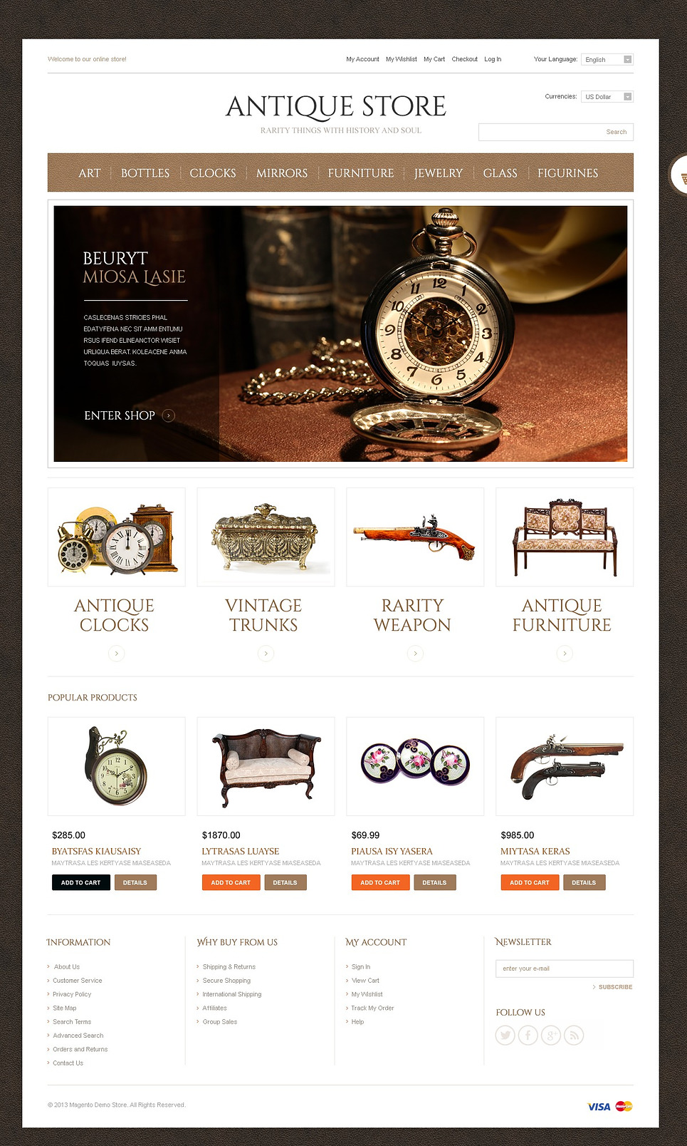 Expensive Antique Store Magento Theme
