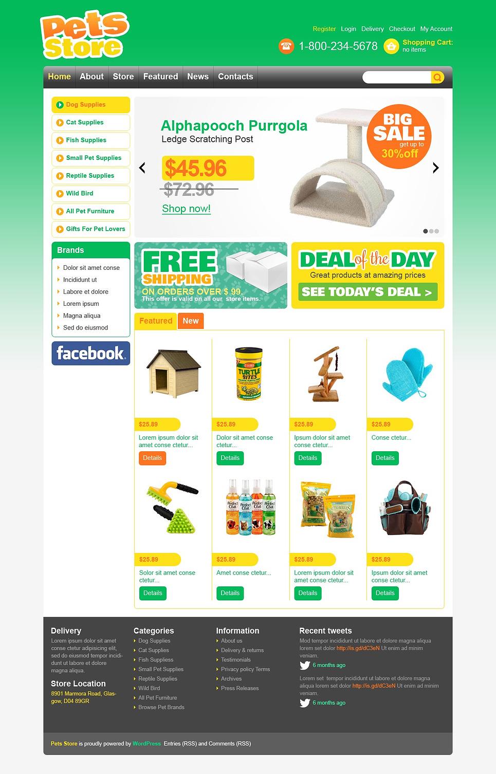 Simple Pet Supplies Store Jigoshop Theme