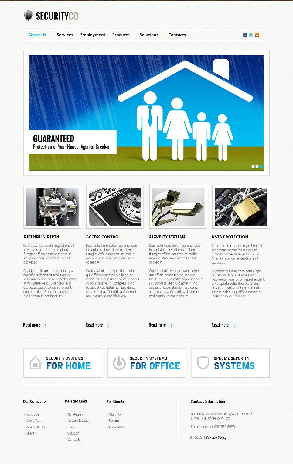 Security Web Template with jQuery Slider and Catalogue - image