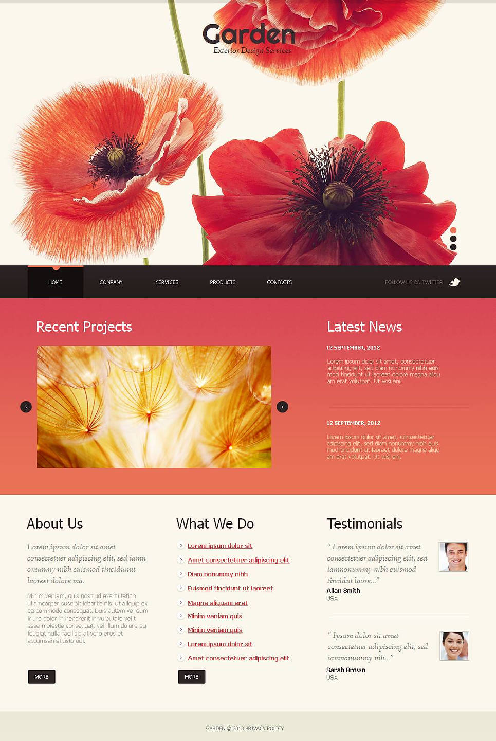 Garden Design Website Template with Several Sliders - image