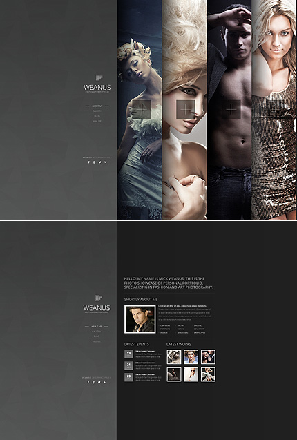 black photo studio website template by ares bootstrap ajax website template 43739 templates. Black Bedroom Furniture Sets. Home Design Ideas