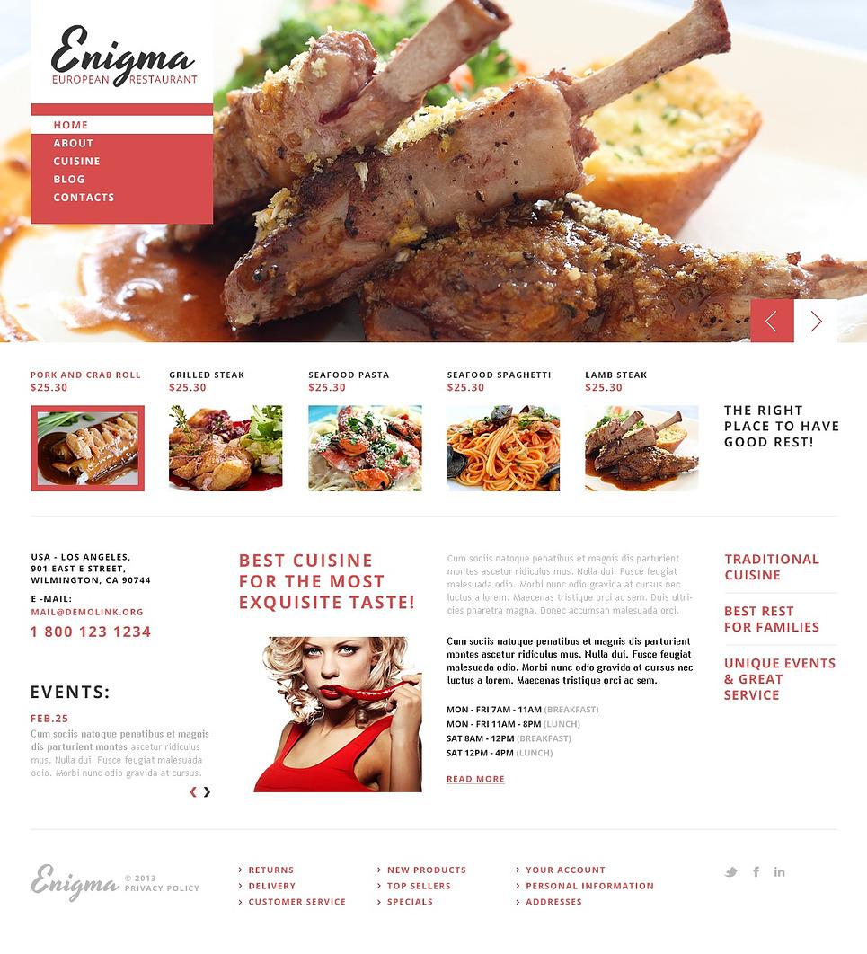 Astonishing European Restaurant Joomla Template