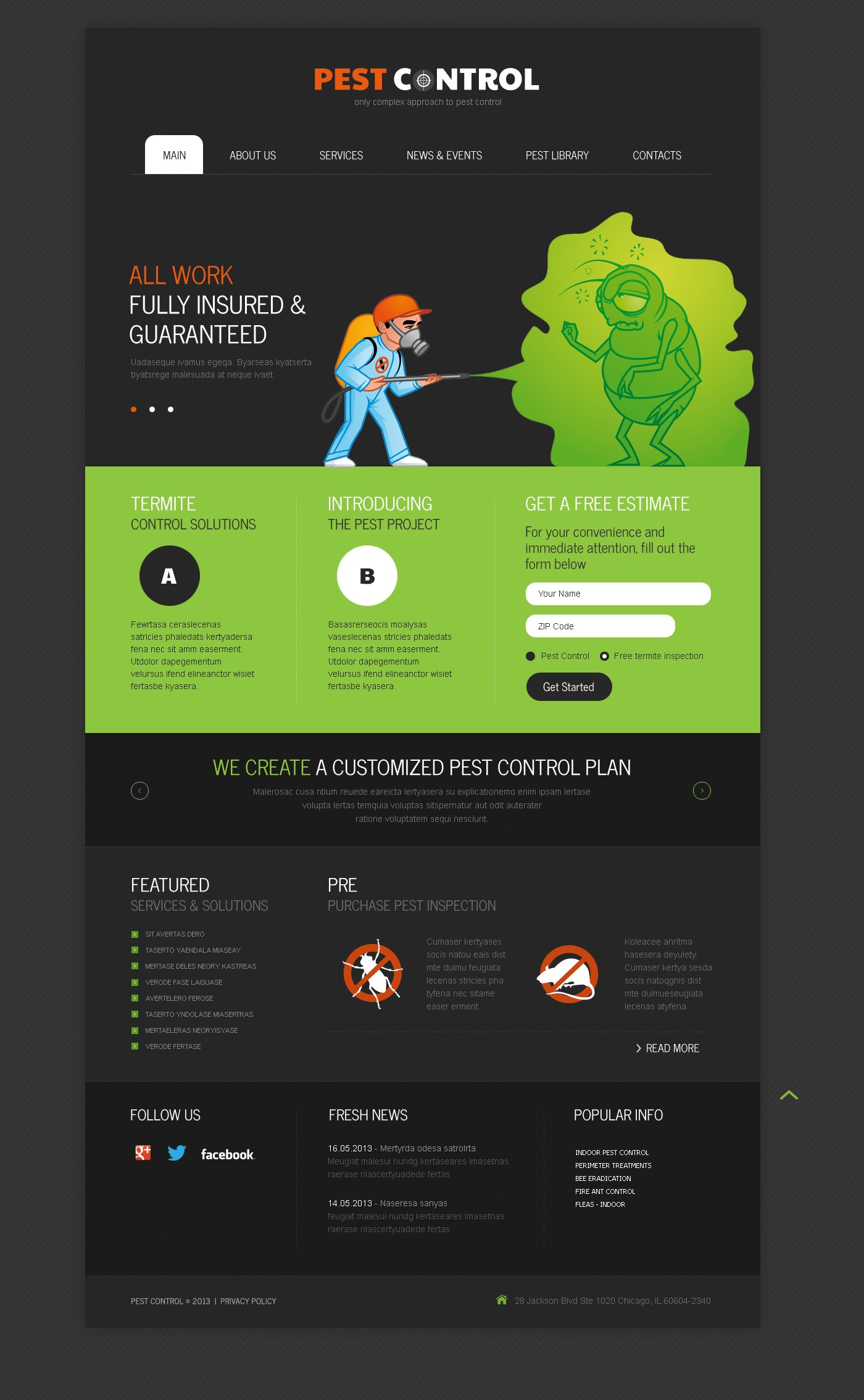pest control responsive website template  43768