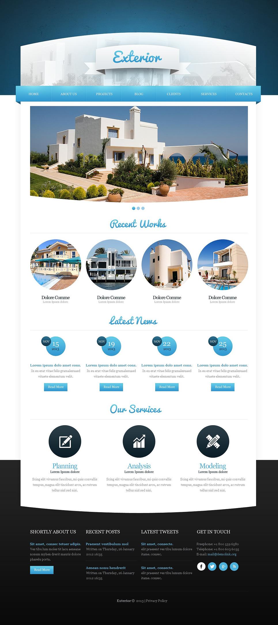 Exterior home design joomla template web design for Exterior design templates