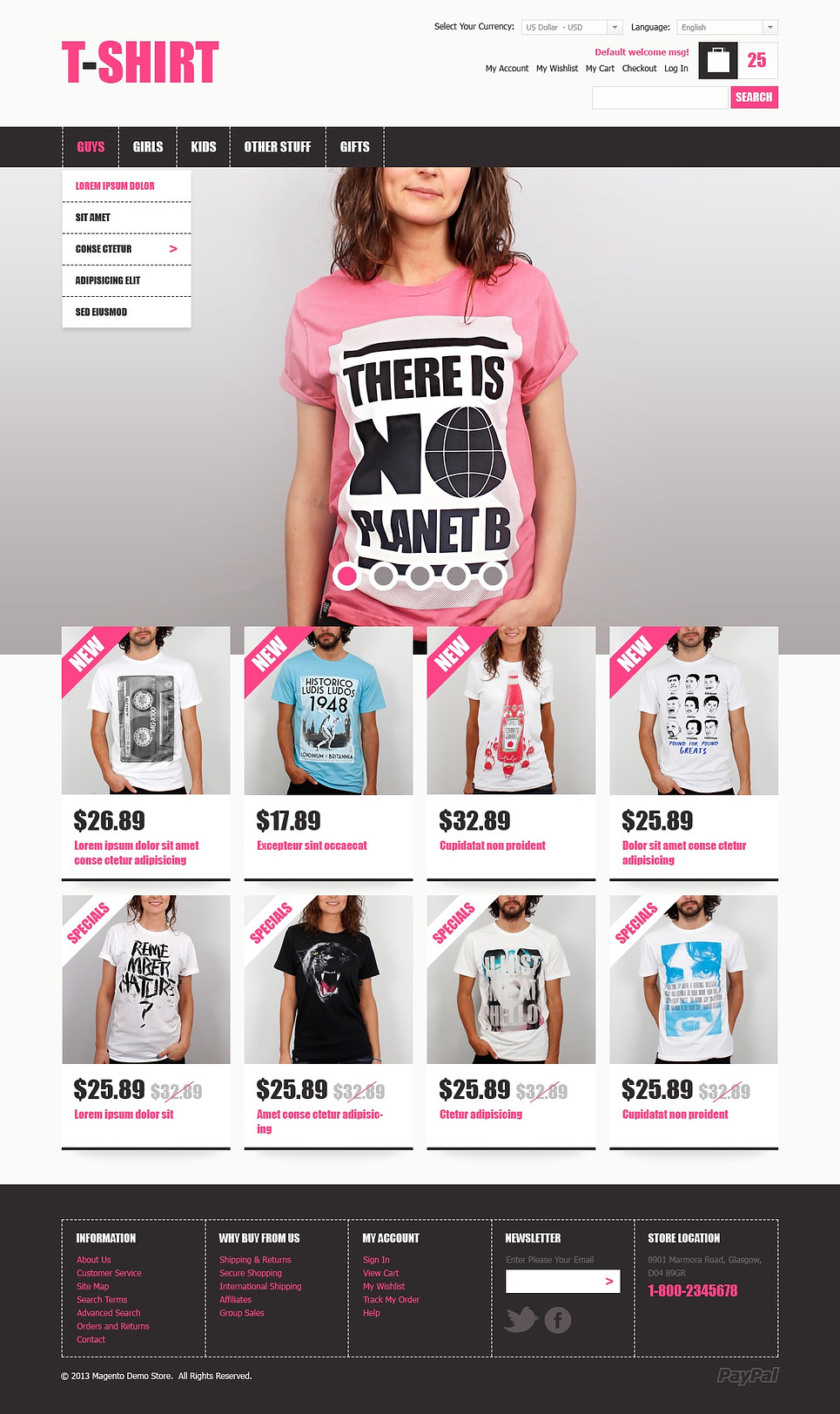 creative t shirts magento theme web design templates