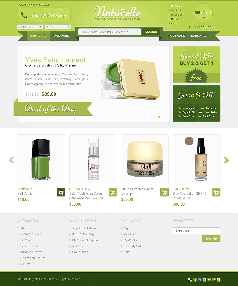 Outstanding Organic Cosmotic Store Magento Theme