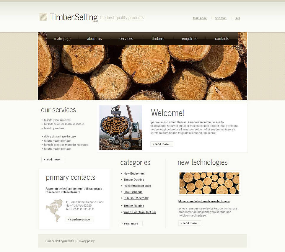 Timber Website Template for Industrial Business - image