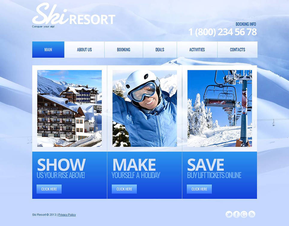 Skiing Website Template with Snowy Background - image