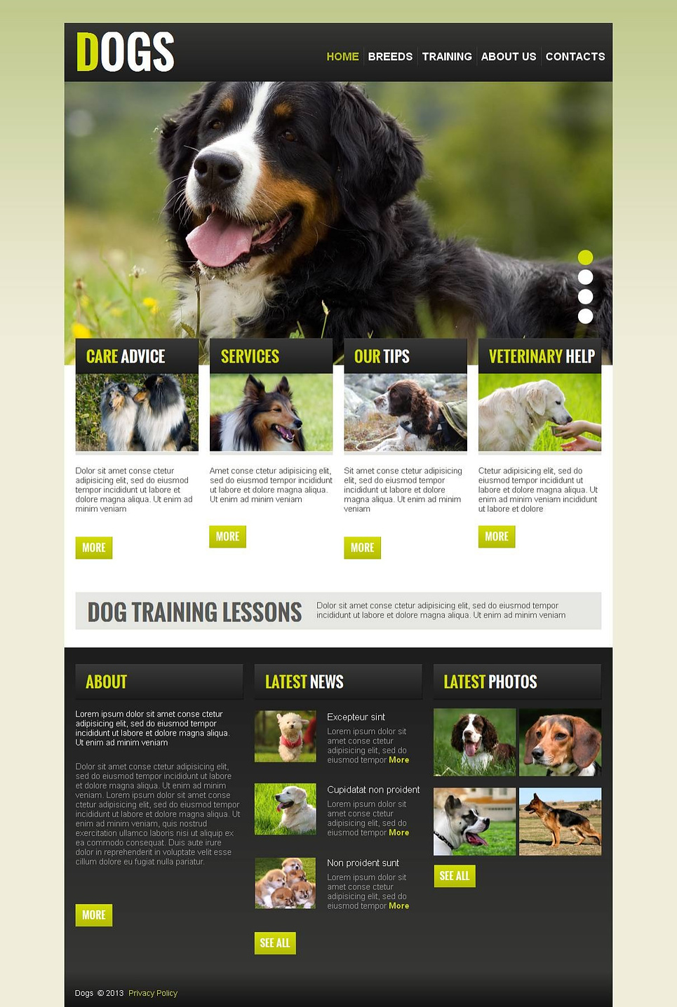 Dog Website Template with jQuery Slider - image