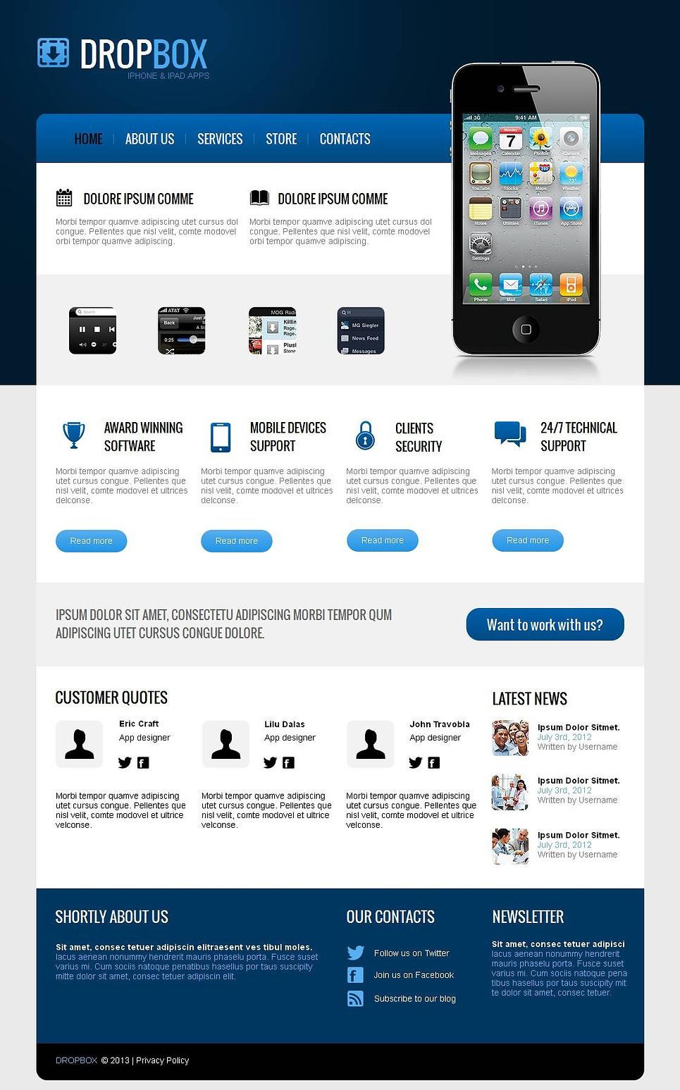Webvisitenkarte für einen Entwickler für mobile Anwendungen für iOS - image