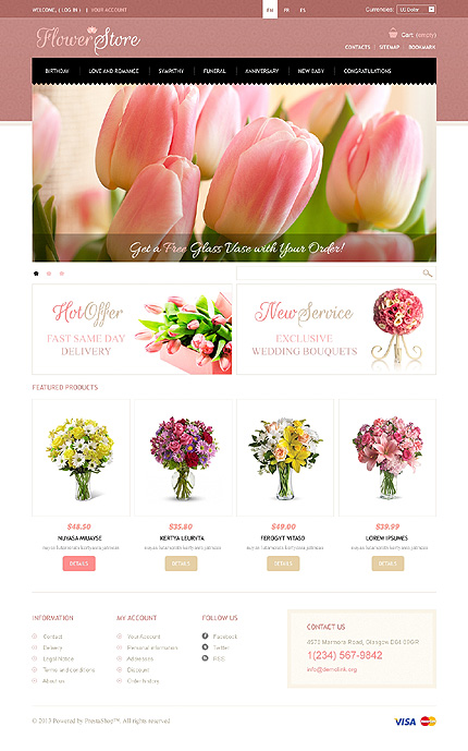 Flowers store - Joyful Flowers Store PrestaShop Theme