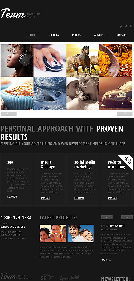 advertising agency responsive website template web design templates website templates. Black Bedroom Furniture Sets. Home Design Ideas
