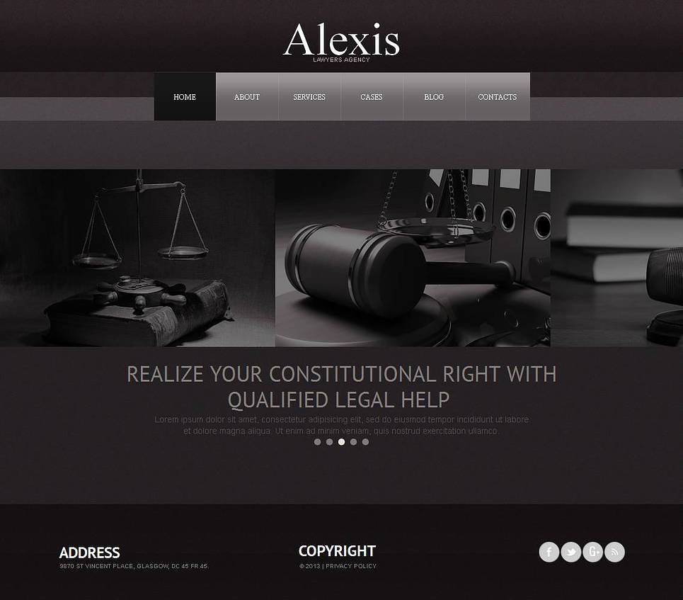 Monochrome Lawyer's Template with jQuery Carousel Gallery - image