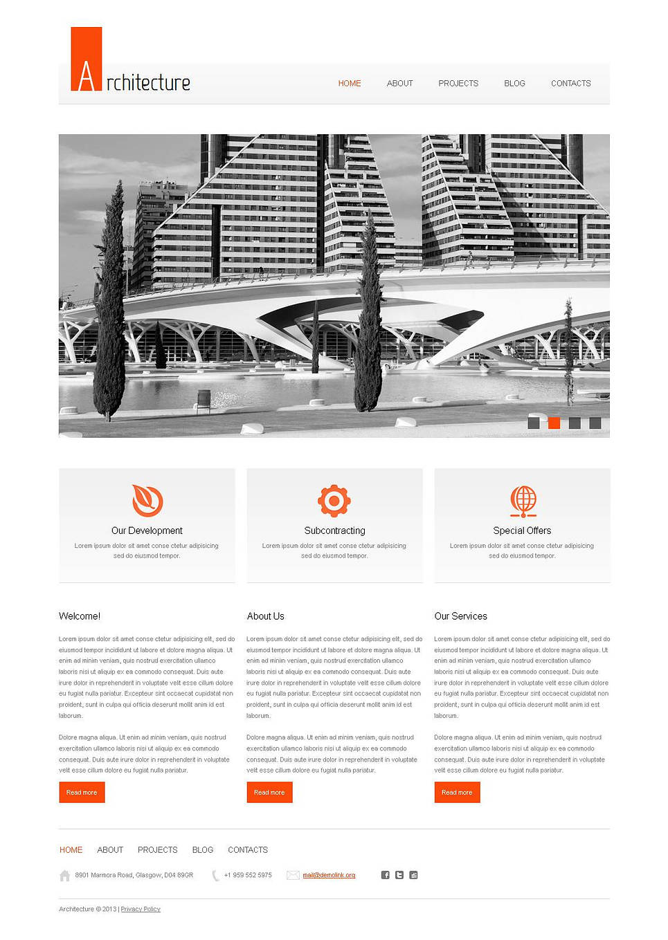 Clean Architect Website Template with jQuery Slider - image
