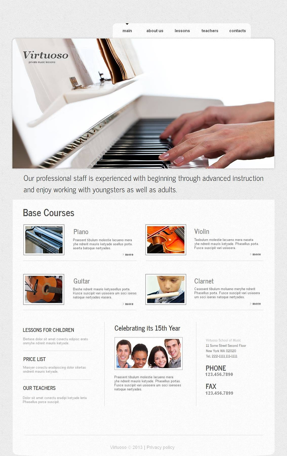 Music School Website Template Designed in Clean Style - image