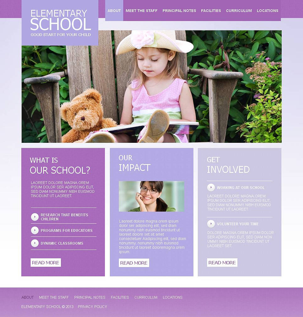 Elementary School Website Template Designed in Shades of Violet - image