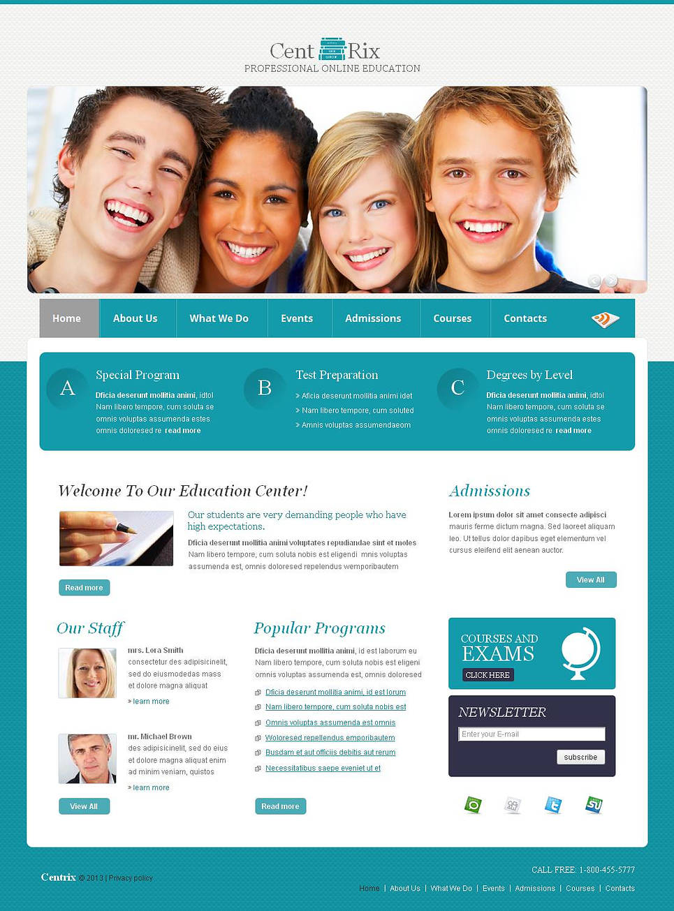 Turquoise Website Template for Education Centers - image