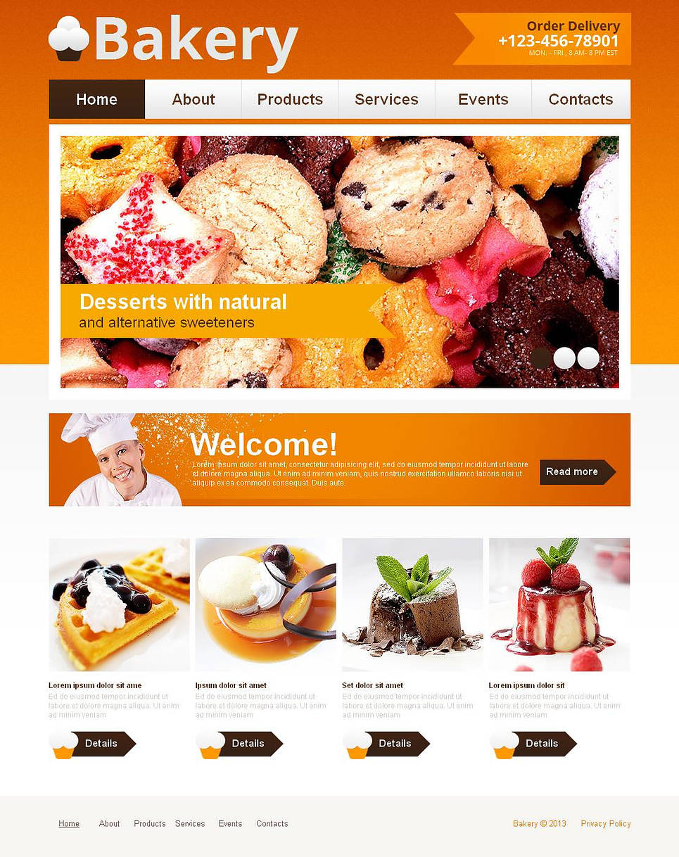 Bakery Website Template with Orange Header - image