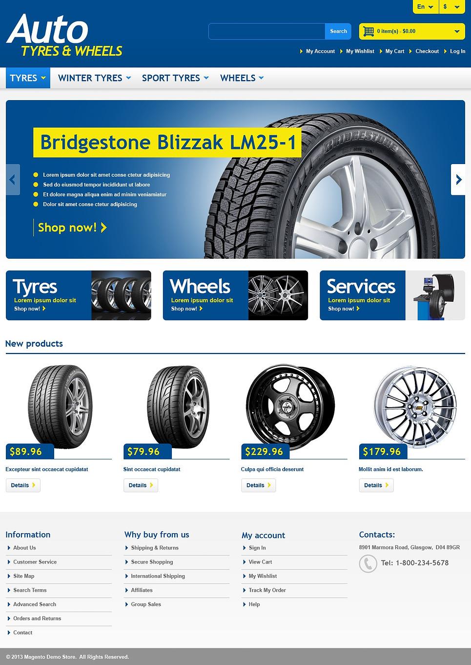 Impressive Responsive Wheels & Tyres Store Magento Theme
