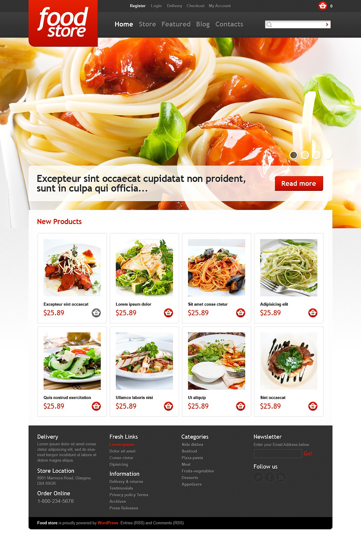 Delicious Food store JigoShop Theme