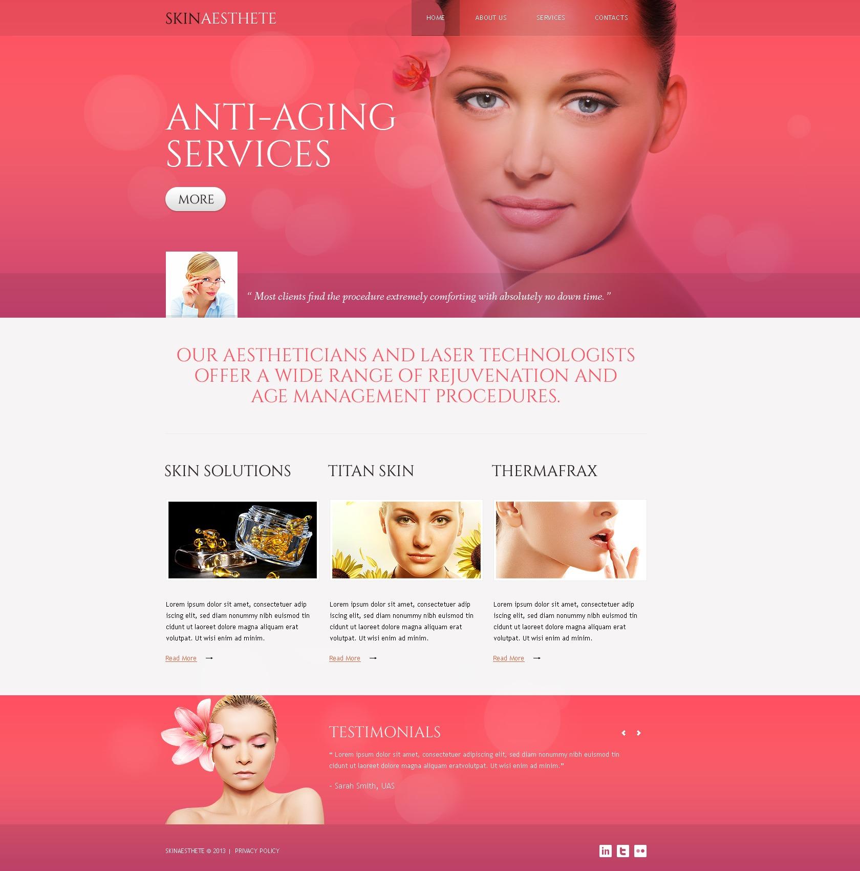 Beauty salon responsive website template 44005 for Cosmetology portfolio template