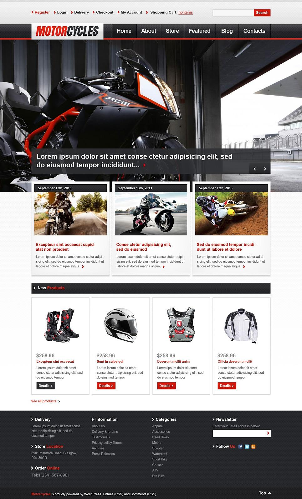 Attractive Motorcycles JigoShop Theme
