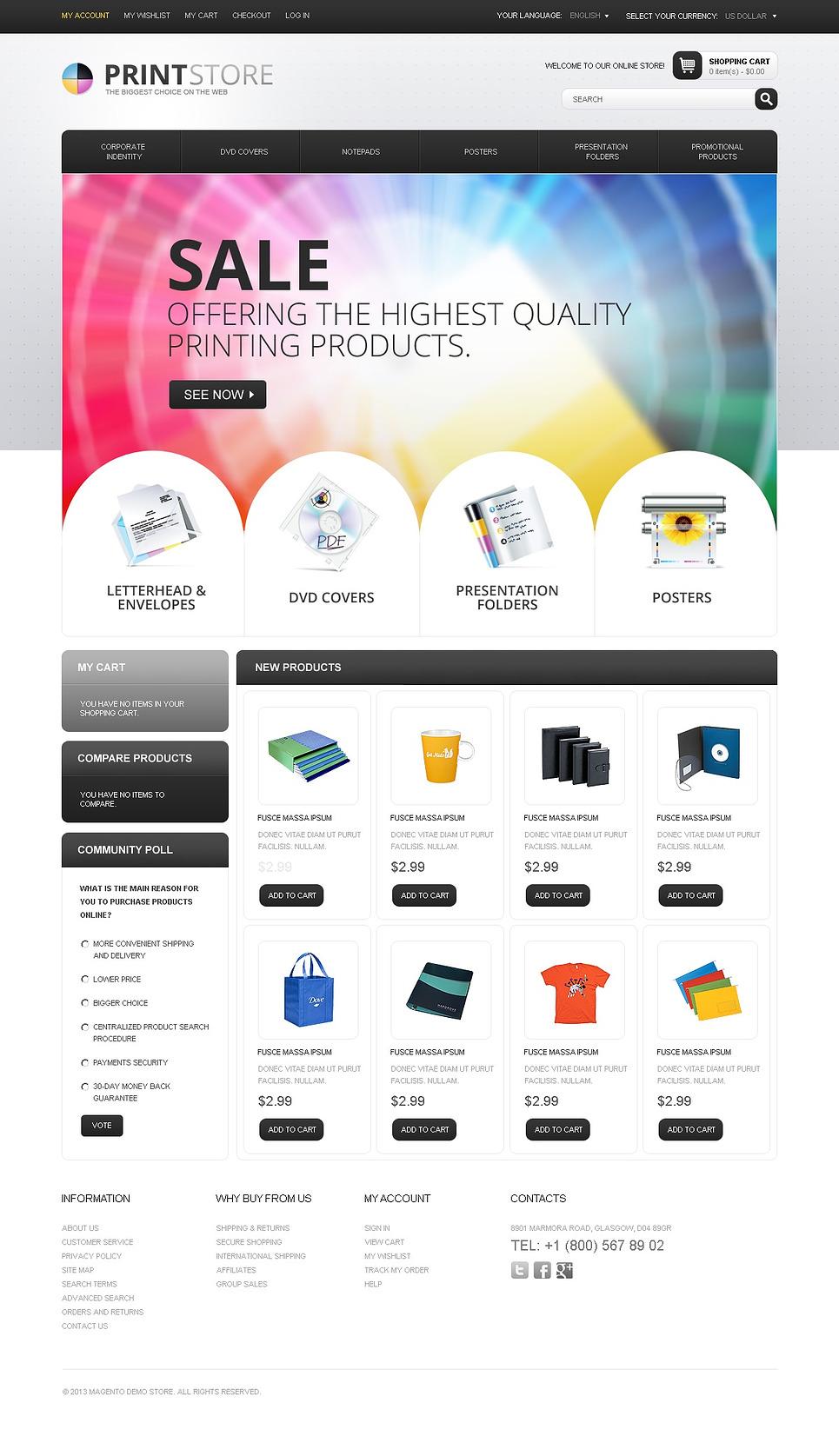 Print Store Magento Theme New Screenshots BIG