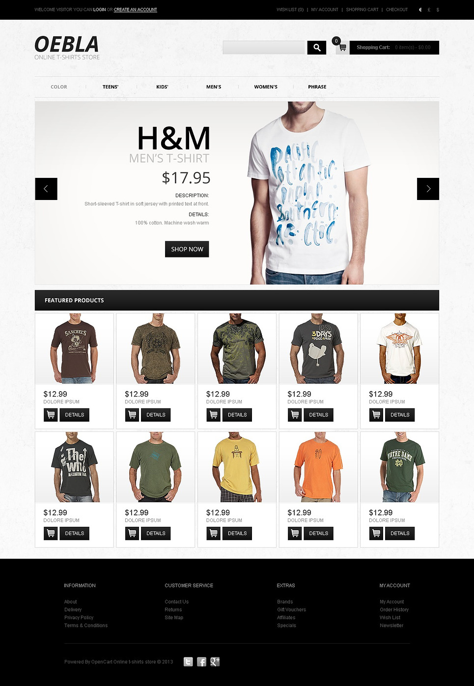 Online t shirt store opencart template web design for Website to shop online