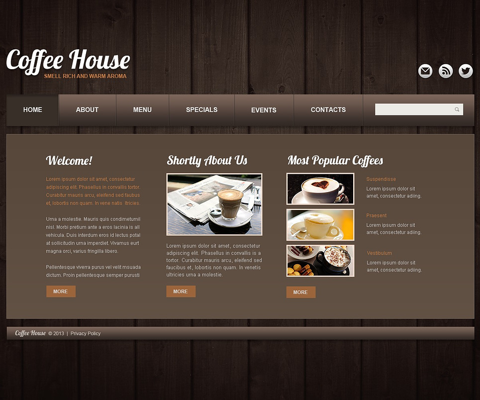 Coffee shop website template web design templates for Shop homepage