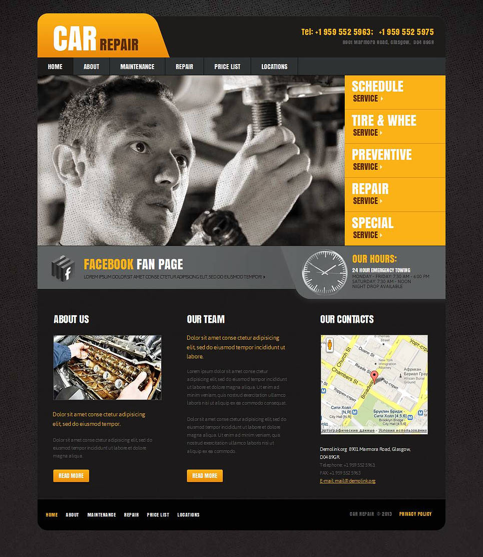 Car Repair Web Template with a Background Texture - image