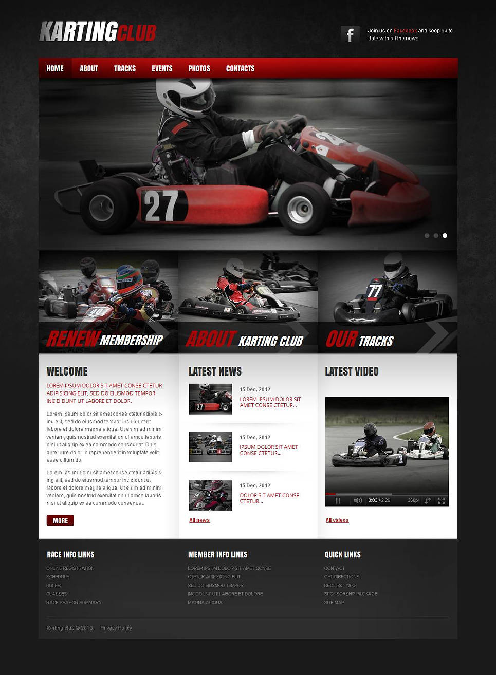 Karting Website Template with Black, Red and White Colors - image