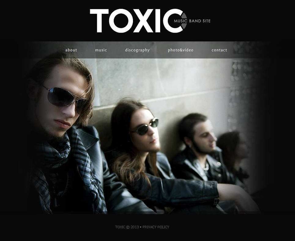 Dark Web Template with Photo and Video Galleries for Music Bands - image