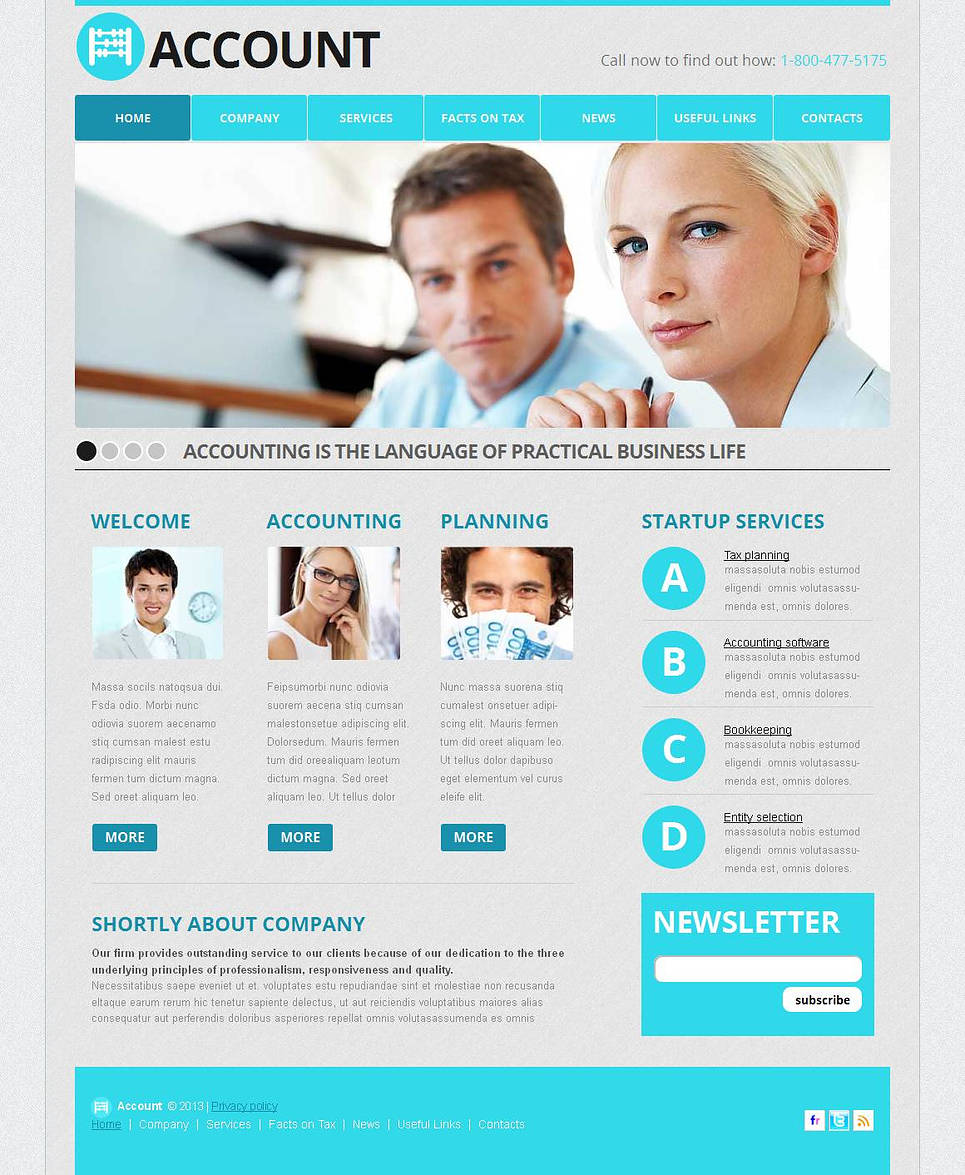 White Accounting Website Template with Light Blue Elements - image