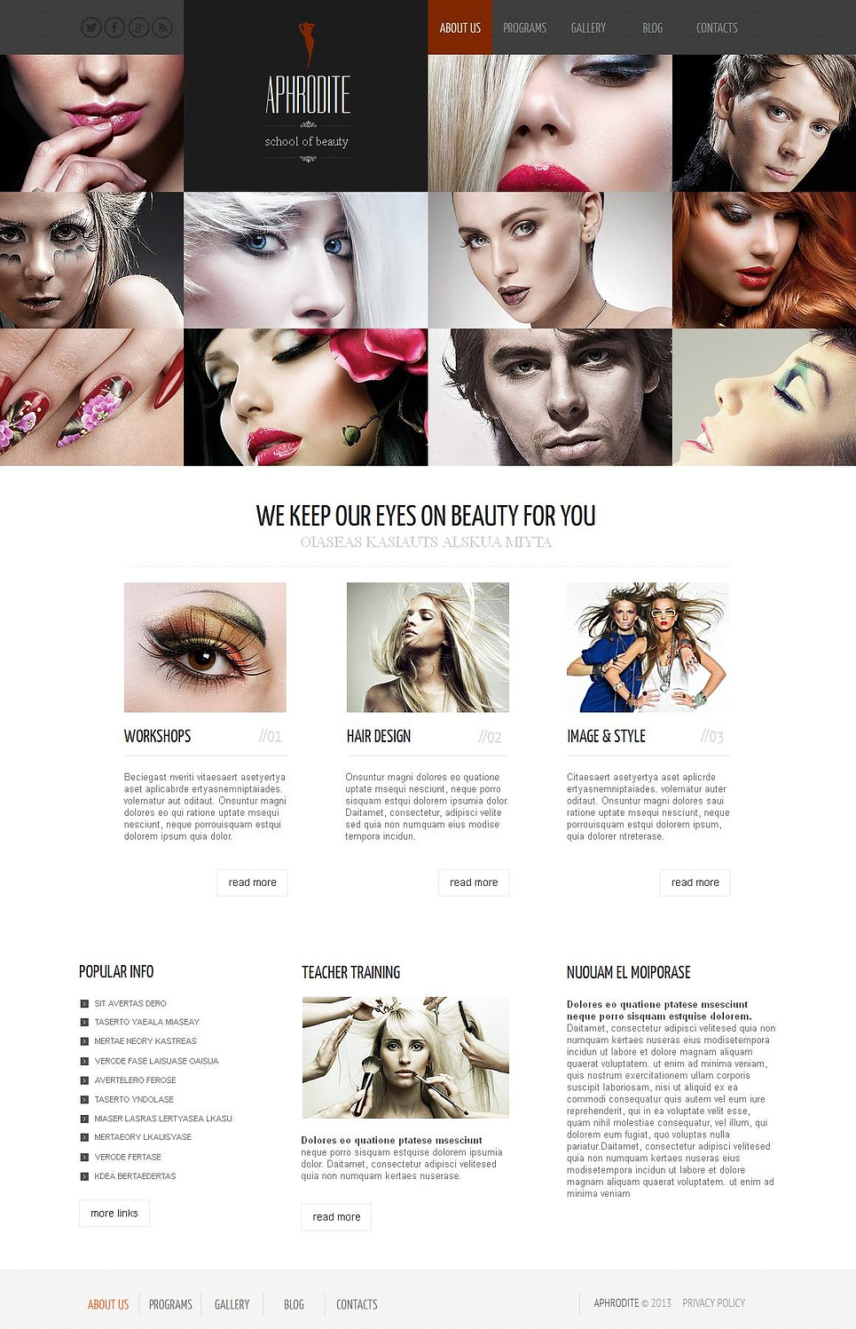 School of Beauty Website Template with a Grid Gallery - image