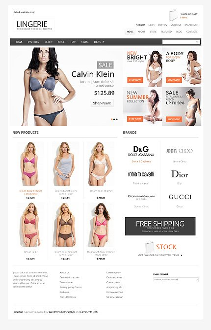 View live Demo for Fashion and Lingeries Store - Responsive WordPress Jigoshop Theme
