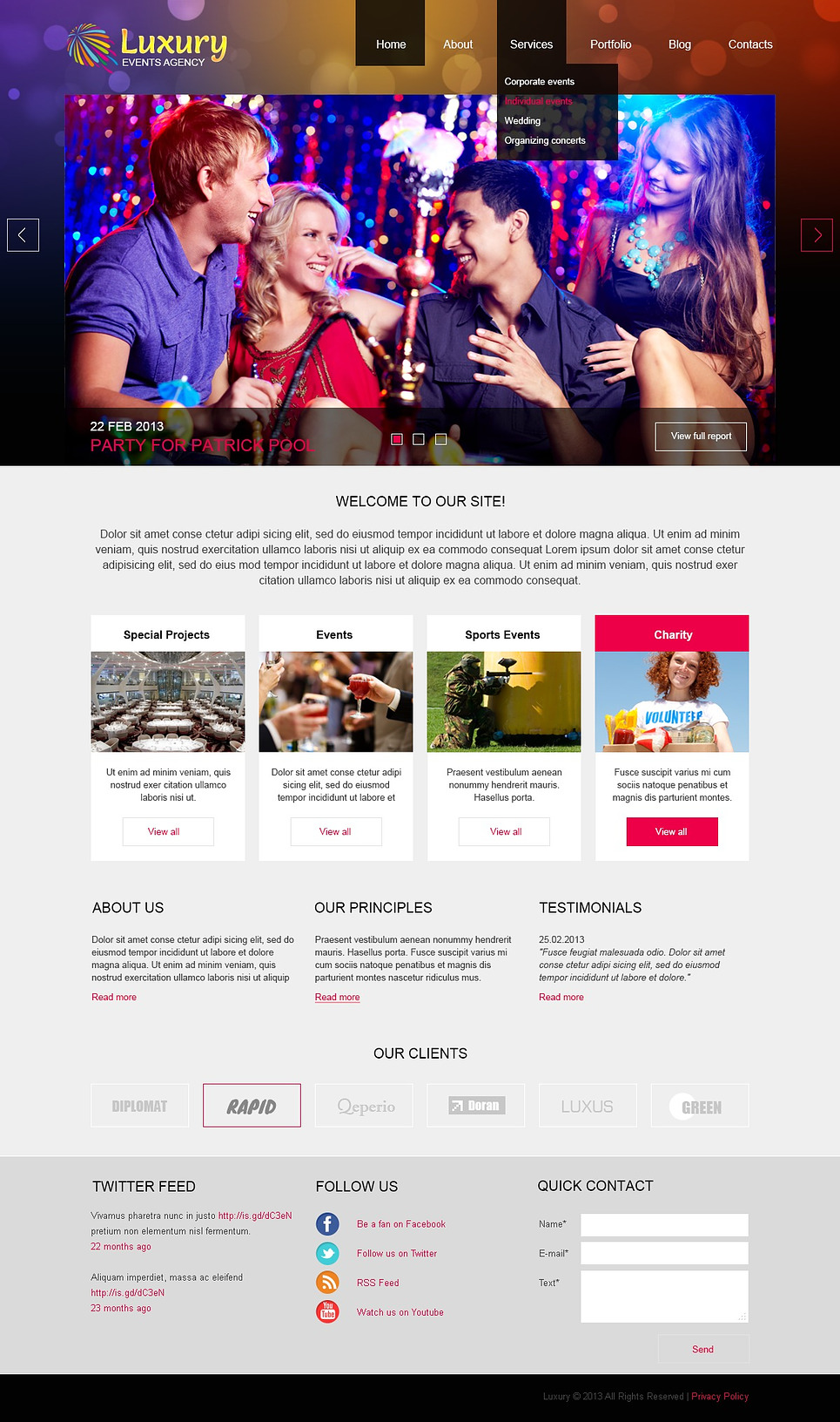 Joomla Luxury Templates Luxury Event Planner Joomla