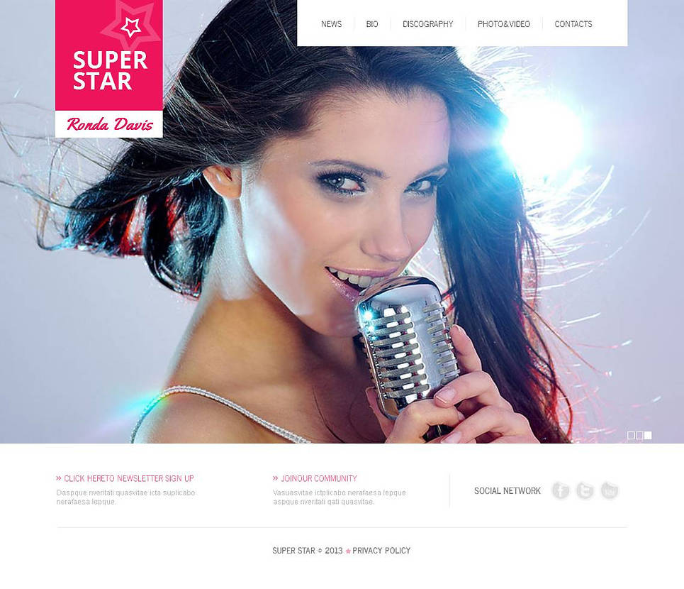 Singer's Personal Page Website Template - image