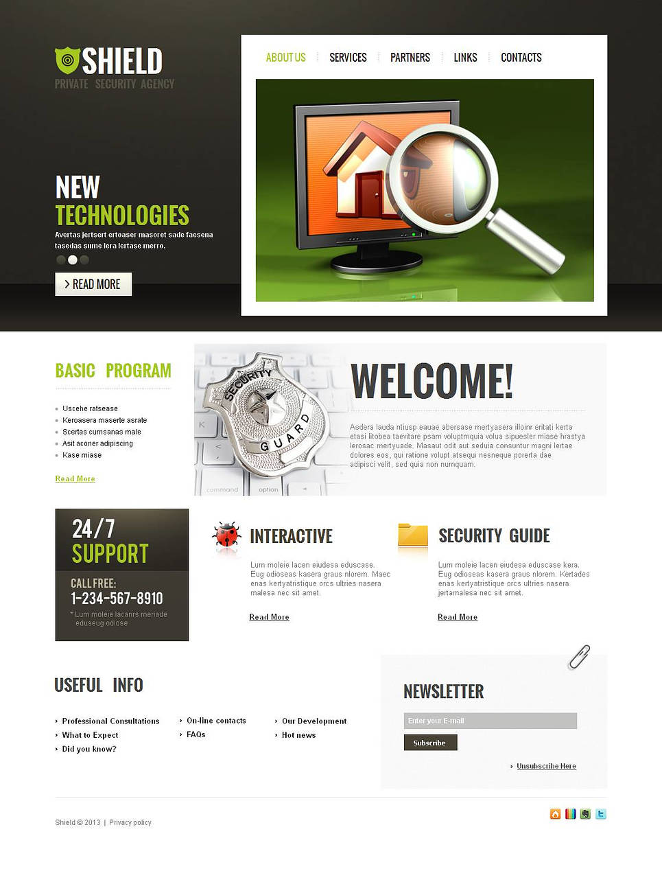 Private Security Agency Template with Creative Menu Design - image