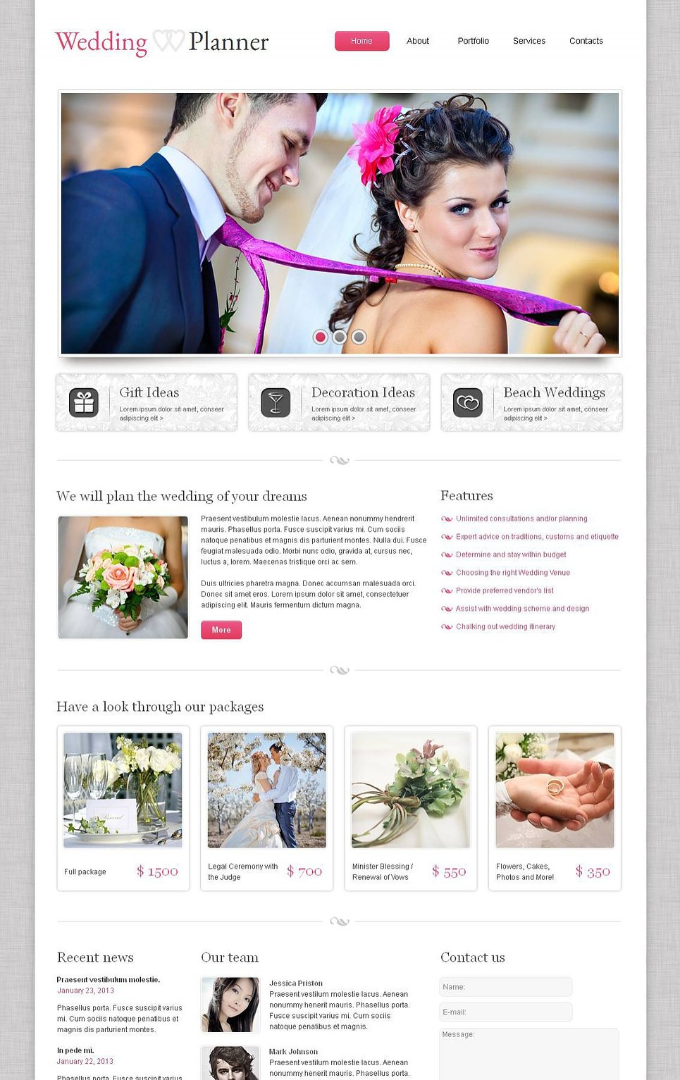 Wedding Planner Website Template with Photo Gallery - image